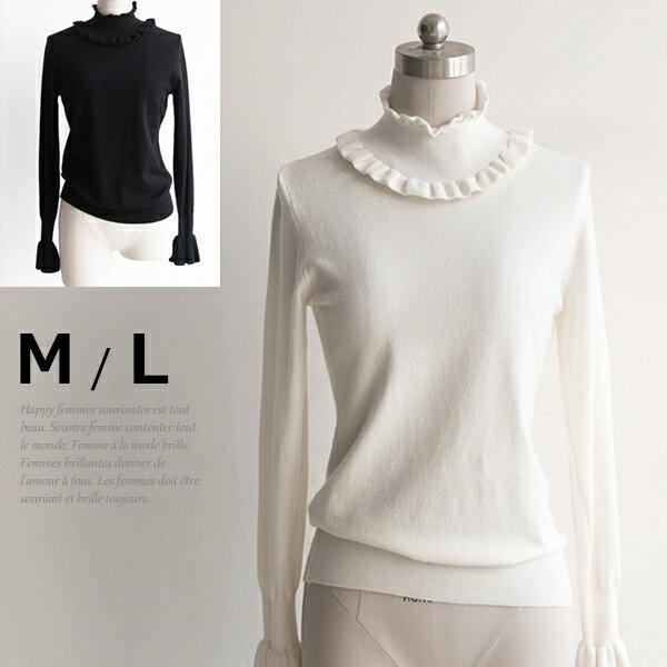 フリル襟 デザイン袖 タートルネックセーター レディース 秋冬ニット 白 黒 M L 長袖トップス 在庫わずか