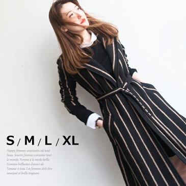 ウール 黒の ストライプ ガウンコートレディース 冬 ロングコート チェスターコート ブラック 小さいサイズ 大きいサイズ S.M.L.XL 在庫わずか