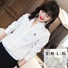 【メール便可】綿 100% コットン ロゴ入り 白シャツ レディース 通勤 シャツ ブラウス 長袖 オフィス スーツ 小さいサイズ 大きいサイズ S M L XL