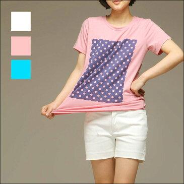 ドット柄半袖Tシャツ ロゴ 柄物 トップス レディース 【SS】【在庫わずか】