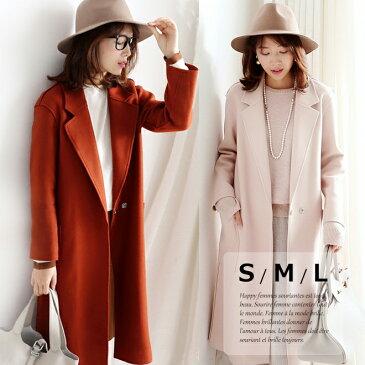ウール 70% 大きなポケット付き ダブルボタン チェスターコート レディース 秋冬 ロングコート 小さいサイズ 大きいサイズ S.M.L