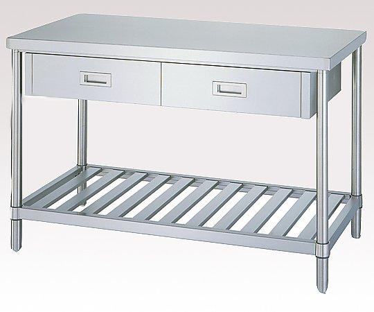1-6562-12 ステンレス作業台引出付 (SUS430・スノコ棚仕様) 1800×600×800:GAOS