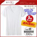 【グンゼ】【5枚セット】YG メンズインナー VネックTシャツ【綿100%】半袖シャツ サイズ】M L LL】カラー【白】 送料無料 【楽天BOX対応商品】 02P03Sep16