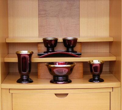 ゆうがお5点セット(ワイン)3.0【モダン仏具セット・家具調】【送料無料】