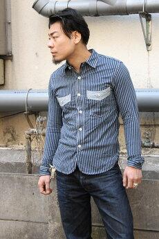エイトジー,EIGHT-G,ヴィンテージストライプワークシャツ,8ls-46