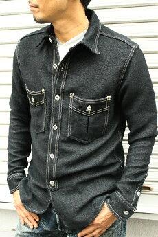 エイトジー,EIGHT-G,長袖,ウールサージ,ワークシャツ,ブラックシャツ,8LS-41