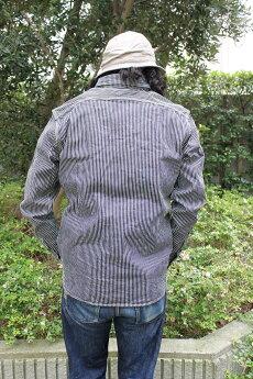 エイトジー,長袖,ヒッコリーデニムワークシャツ,ヒッコリーシャツ,8LS-18