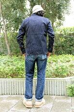 着用,エイトジー,EIGHT-G,長袖,ウォバッシュストライプワークシャツ,8LS-36
