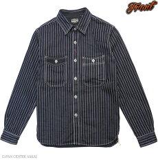 カラー,エイトジー,EIGHT-G,長袖,ウォバッシュストライプワークシャツ,8LS-36