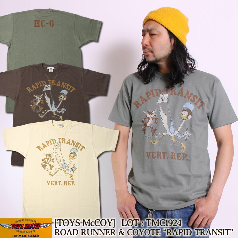 トップス, Tシャツ・カットソー TOYS McCOY T MILITARY TEE SHIRT WARNER BROS. ROAD RUNNER COYOTE RAPID TRANSIT TMC1924 T