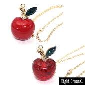 ネックレス林檎リンゴキュービックジルコニアりんごフルーツ赤レッドApple可愛いハロウィン【あす楽】