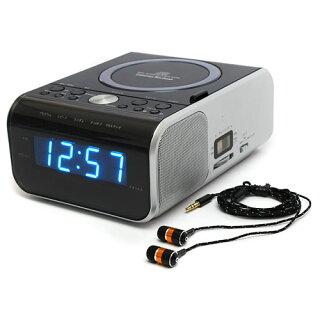 ラジオCDプレーヤー「目覚ましCDクロックラジオ」(AMFM、CDをタイマー予約で自動ON再生目覚まし時計アラームクロック小型デュアルアラームCDクロックラジオ)