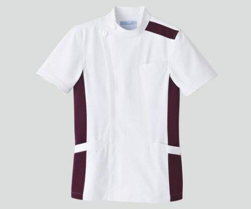 KAZEN/アプロン メンズジャケット 半袖 ホワイト×プラム 094-25 S (8-6855-01)