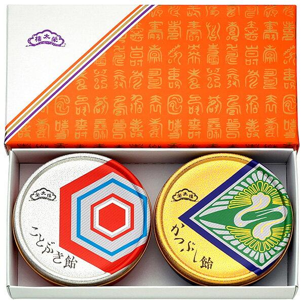 榮太樓飴 鶴亀セット ことぶき飴・かつぶし飴80g入×2缶お年賀 新年 ご挨拶 贈り物 ギフト