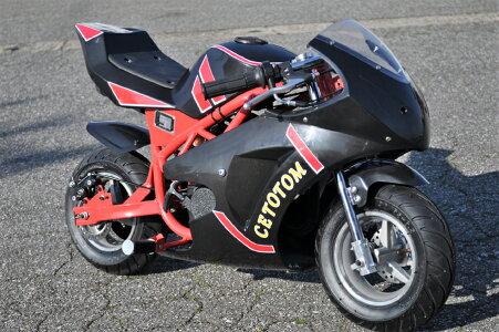 【人気新モデル!】98%組み立て済み新式らくらくアルミスターター採用スポーツタイプポケバイミニバイクEs001