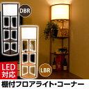 ライト・照明 スタンド照明 インテリアライト LED対応 棚付フロアライト・コーナー 送料無料…