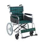 (3,000円OFFクーポン配布中!!)(代引き不可) エコノミー 介助用車いす EW-30GN 緑チェック マキテック (介助用 車椅子 折り畳み コンパクト) 介護用品