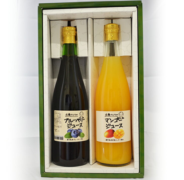 ブルーベリー&マンゴージュース(720g×2本)【送料無料】産地直送 セット ブルーベリージュース マンゴー ジュース ギフト 詰め合わせ 手づくり ビタミンC クエン酸