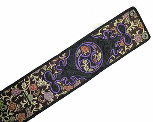 【限定10枚】三線用 胴巻き 刺繍 花紫
