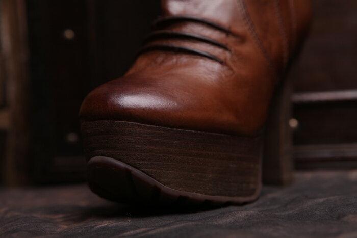 即納 【オリジナルデザイン】本革ハーフブーツ ベルト付き 太ヒール 厚底 前厚