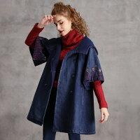 冬新作オリジナルデザインレトロ調レディースデニムコートミディアム丈五分袖袖とフードに刺繍入りダブルボタンゆったりガーリーカジュアルシンプルフリーサイズ