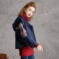 冬新作オリジナルデザインレトロ調レディースデニムジャケットショート丈長袖袖に刺繍入りフード付きカジュアルガーリースポーティブルーフリーサイズ