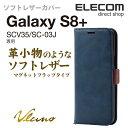 エレコム Galaxy S8+(SC-03J/SCV35) ケース ソフトレザーカバー 手帳型 サイドマグネットフラップ ネイビー PM-GS8PPLFYMNV