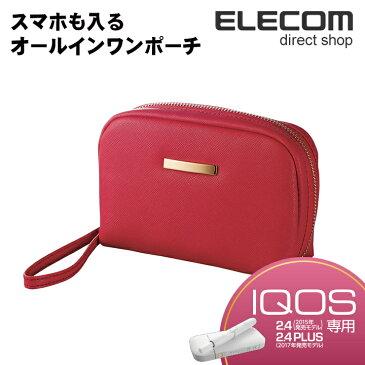 エレコム IQOS ケース オールインワンポーチ ソフトレザー レディース レッド ET-IQAPG2RD