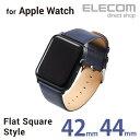 エレコム Apple Watch 42mm用 ソフトレザーバンド ヴィーガンレザー フラット ネイビー AW-42BDLFSBU