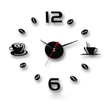 新品 送料無料●ウォールクロック カフェ●ウォール 時計 クロック ステッカー 壁 壁に張る  コーヒー オフィス インテリア
