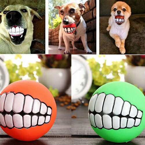 新品  犬用 歯型 ボール 犬 歯 シリコン ペット 笑顔