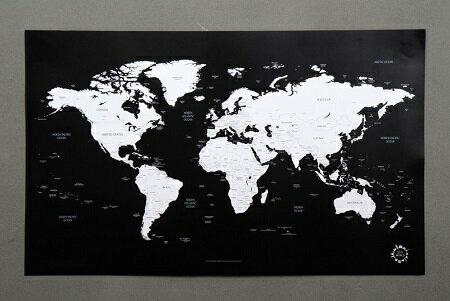 送料無料 新品●世界地図 ポスター ワールドマップ 白黒 英語●壁紙