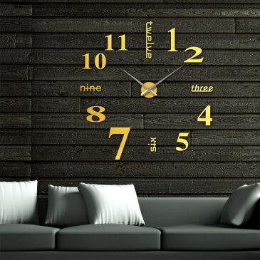 ゴールド 壁に貼る 壁時計 ウォールクロック ステッカー ゴールド DIY ウォールクロック 時計 ウォールステッカー ウォールクロック 新品 送料無料