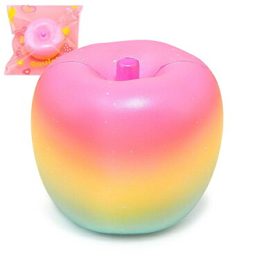 スクイーズ レインボーアップル リンゴ カラフル 低反発 おもちゃ かわいい ストラップ 握る ストレス解消 もちもち 新品 ランダム 【送料無料】