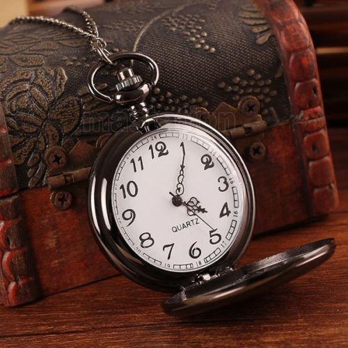 新品●シンプル 懐中時計 クォーツ アナログ時計 ブラック シルバー●アラビア数字