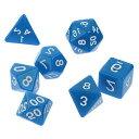 サイコロ 多面体 7種類のダイス ベーシック グロスカラー ブルー 袋ケース付き イベント おまとめ お洒落 綺麗 ギフト パーティー 青 セット 色艶 彩