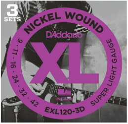 【送料無料】D'Addario(ダダリオ)エレキギター弦3セットパックEXL-120-3D