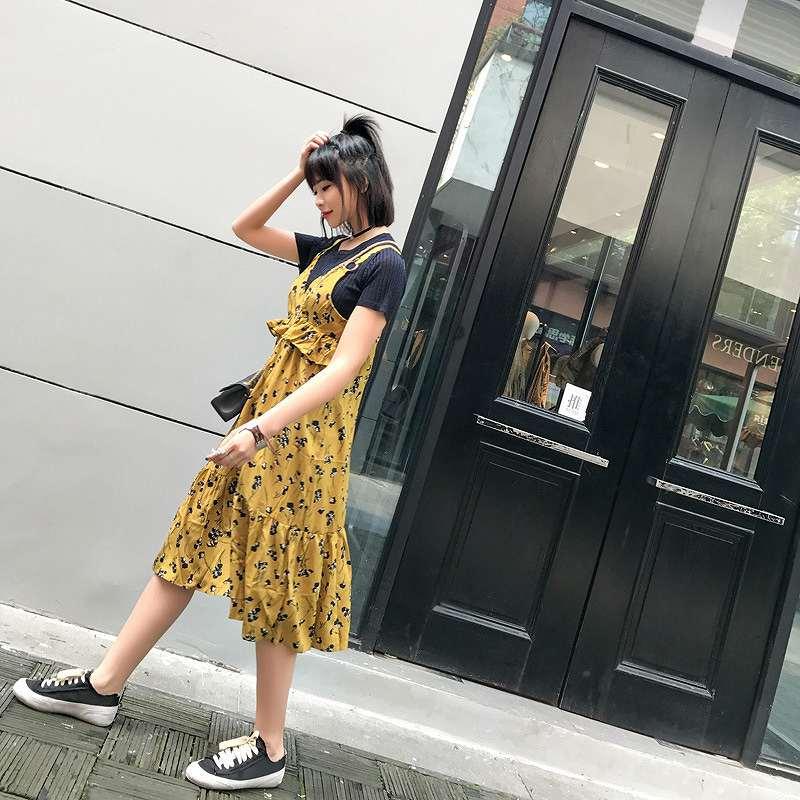 レディース 韓国ファッション シフォン ワンピース フィッシュテールスカート ノースリーブ ミモレ丈 花柄 ボタニカル柄 フレア ガーリッシュ レトロ オフコーデ 裾広がり 普段着 上品 グリーン イエロー S M サイズ