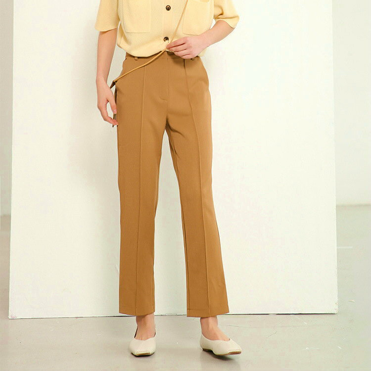 レディース 韓国ファッション ストレートパンツ センタープリーツ ハイウエスト ボトムス オフコーデ OFF 大人可愛い 学生 ブラック ブラウン S M L サイズ