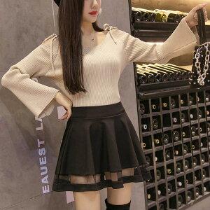レディース 韓国ファッション ミニスカート 透け素材 透け感 ハイウエスト ミニ丈 ボトムス 学生 クール ブラック 黒 S M L XL 2XL ビックサイズ