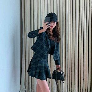 「最大5%OFFクーポン配布中」 レディース 韓国ファッション 上下セット ブラックウォッチ スーツ プリーツスカート ミニ丈 長袖 セットアップ オフコーデ OFF 制服風 上品 オフィス グリーン S M L XL サイズ