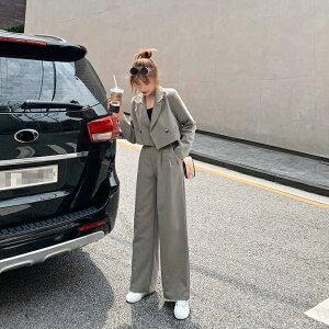 レディース 韓国ファッション 上下セット セットアップ テーラードジャケット + ワイドレッグパンツ オフィス ビジネス ダンススーツ ON OFF 大人かっこいい グレー ブラック S M L サイズ