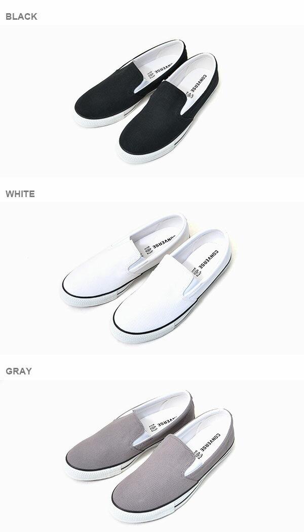 【得割25】スリッポンコンバースCONVERSEメンズレディースCVVLCSLIP-ONスリップオンスニーカーシューズ靴キャンバスフラット無地ローカットホワイト白ブラック黒グレー2016新作【あす楽配送】