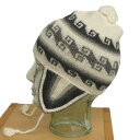 アルパカ100% 耳付き帽子 A-73 フォルクローレ音楽 民族衣装 民族帽子 ペルー アンデス 幾何学柄
