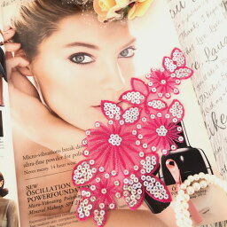 スパンコール モチーフ アイロン用 ピンク ダンス 衣装 装飾 バトン バレエ レオタード ドレス 花