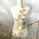 モチーフレース チュールモチーフ アップリケ ゴールド 立体的 モチーフ 大きい 金色 ブライダル レオタード 装飾 衣装作り バトンモチーフ 衣装 ビーズ付 ゴールド