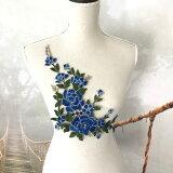 3D バラ 刺繍 モチーフ 薔薇 ハンドメイド 素材 パーツ ダンス 衣装 ブルー