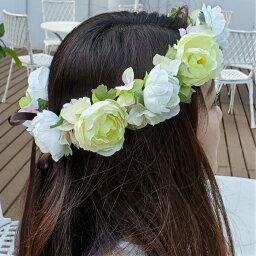【送料無料】ウェディング 花かんむり ブーケ ヘッドドレス フォトウエディング ナチュラル フラ ダンス ブライズメイド パーティー ホワイト グリーン