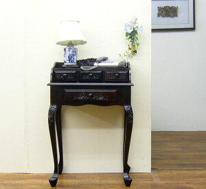 【手彫り薔薇柄デスクスタンド】※アウトレット電話台 ファックス台 FAX台 ファックススタンド ...