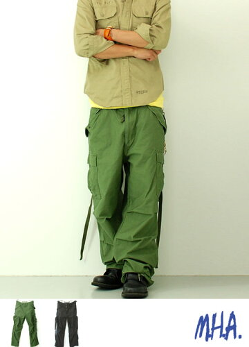 M65 カーゴパンツ オリーブ ミリタリー★アジャスターベルト付★両腿の紐が付きま...